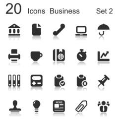 20 icons business black set 2