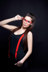 Beautiful Geek With Red Glasses And Suspenders