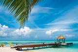 Fototapety Maldivian house on a tropical island, travel background