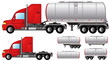 set isolated objects with tank truck and fuel tanks