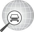 icon with jeep car in magnifier on planet background