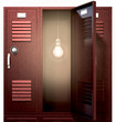 Red School Lockers With Light Bulb Inside Front