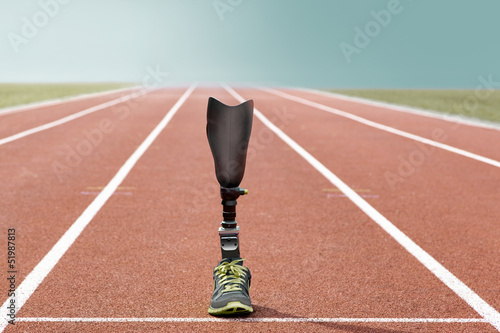 Leinwandbild Motiv Athletic sports prosthesis standing track and field