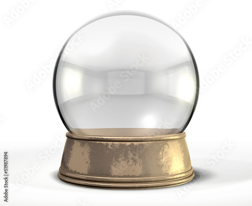 Snow Globe Crystal Ball Isolated - 51987894