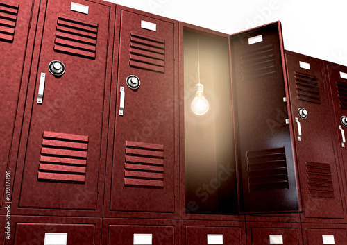 Red School Lockers With Light Bulb Inside Perspective