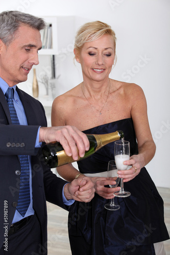 People drinking sparkling wine