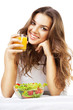 girl with juice and salad