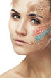 woman with fantasy coloured powder on face