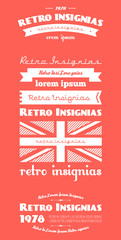 vector retro insignias, Banners and badges