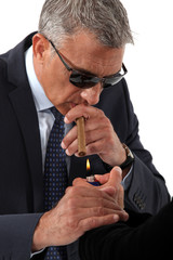 businessman wearing sunglasses