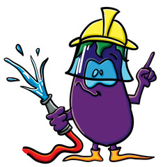 Funny cartoon eggplant is a firefighter