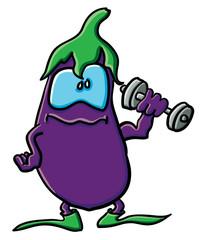 Funny cartoon eggplant is an athlete