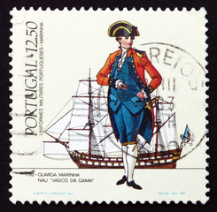 Postage stamp Portugal 1983 Midshipman, 1782, Vasco da Gama