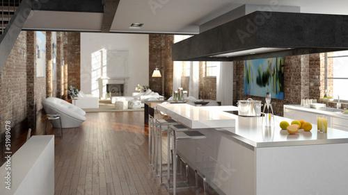 luxus küche in einem loft