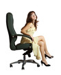 Sexy woman sitting on  office armchair