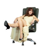 happy woman sitting on office armchair