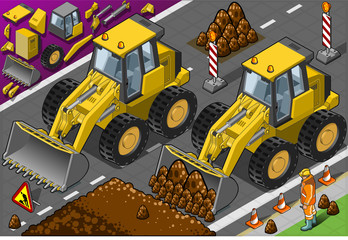 Isometric Yellow Bulldozerin front view