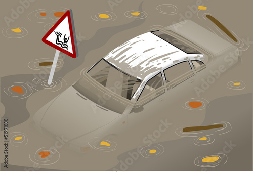 Isometric White Car Flooden in Two Positions