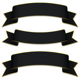 Set of black bands with texture and gold edges