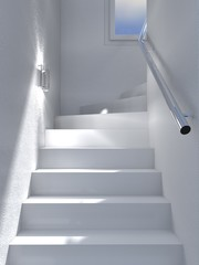 white stairs interior
