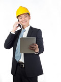 happy supervisor checking tablet poster