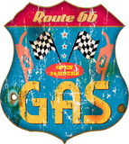 vintage gas station sign, vector illustration
