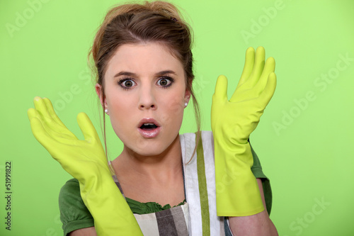 Shocked cleaning lady