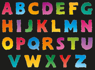 Vector alphabet from torn scraps of colored paper