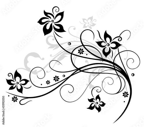 Poster Bloemen zwart wit Blume, Blüte, Ranke, schwarz, grau