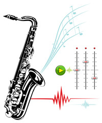 Saxophone on a white background. Recording Studio.
