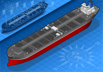 Isometric oil tanker in front view