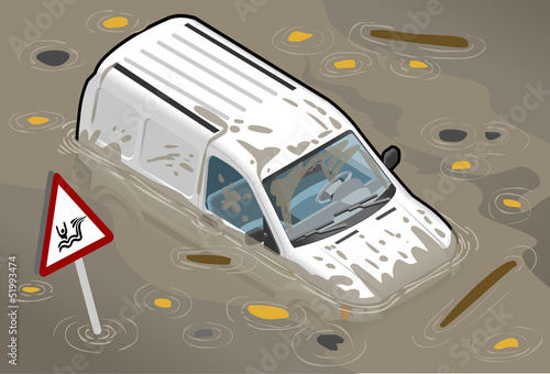 Isometric White Van Flooded in Two Positions