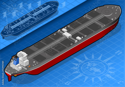 Isometric oil tanker in rear view
