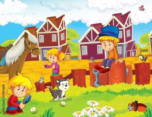 Fotobehang Boerderij The farm illustration for kids