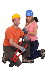 male and female carpenter