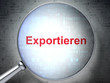 Business concept: Exportieren with optical glass