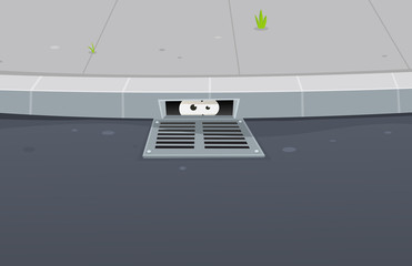 Eyes Spying Inside Pavement Gutter Hole