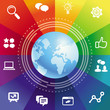 Vector internet concept with rainbow background