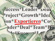 Business concept: Exportieren on Money background