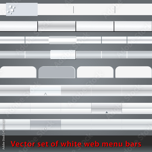 Set of white web menu bars and buttons