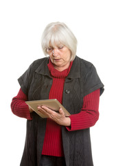 Senior Woman with Digital Tablet - Isolated on White