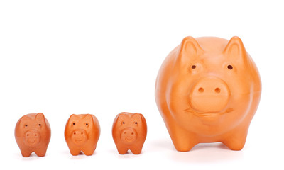 Small piggy banks near big one