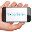 Finance concept: Exportieren on smartphone