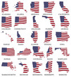 United States flag maps From A to M