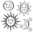 Sun, month and stars on a white background.Vintage style.