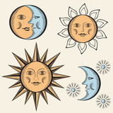 Sun, month and stars.Vector in vintage style.