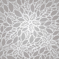 Seamless silver leaves and flowers lace wallpaper pattern