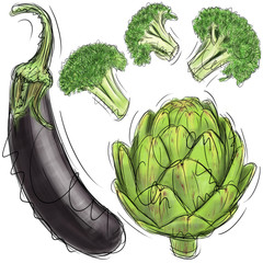 Eggplant, artichoke, and broccoli