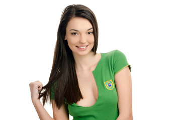 Attractive girl with Brazilian flag on her green t-shirt.