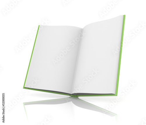 Opened book with reflection